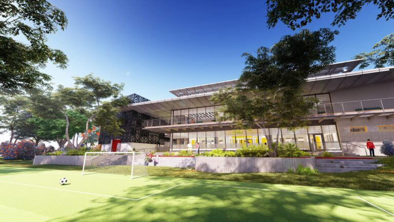 Soccer field view rendering of the Baldwin Innovation Center project.