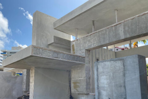 Close up of house under construction.