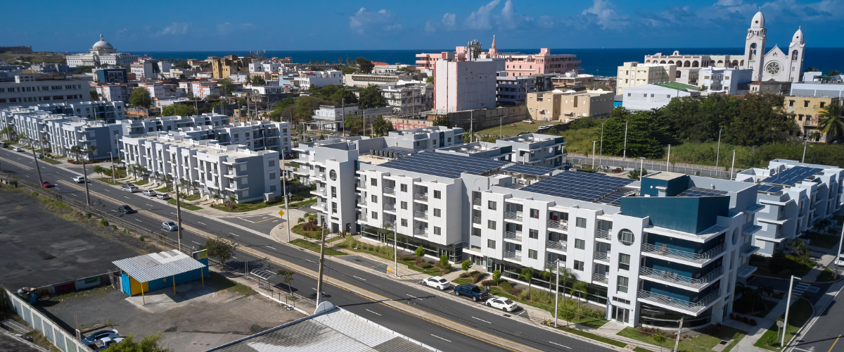 Exterior view of the Bayshore Villas affordable housing buildings by AD&V.
