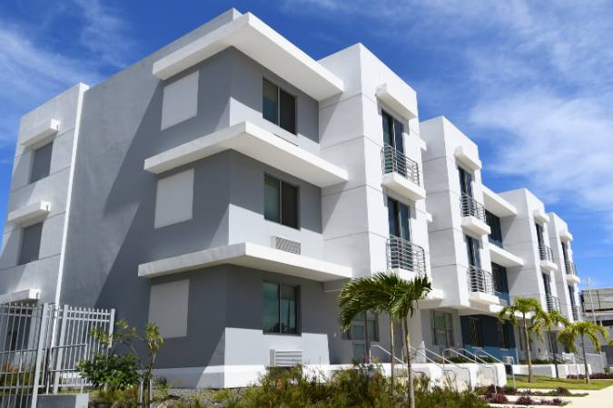 Exterior view of AD&v's Bayshore Villas affordable housing project.