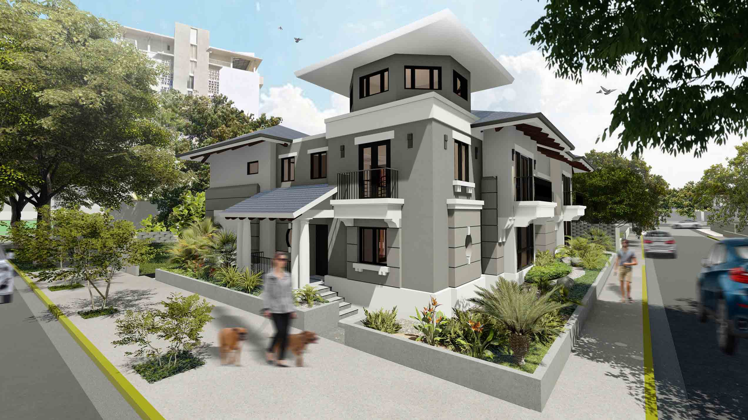 Render of the front view of the Luchetti 1220 private residence project by AD&V.