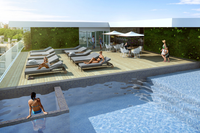 Render of hotel guests enjoying the rooftop pool of the ESJ hotel by AD&V.