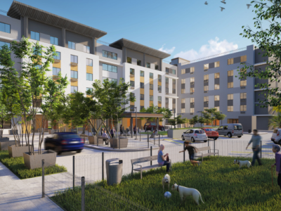 Plaza view rendering of the Senior Living in Guaynabo affordable housing project by AD&V.