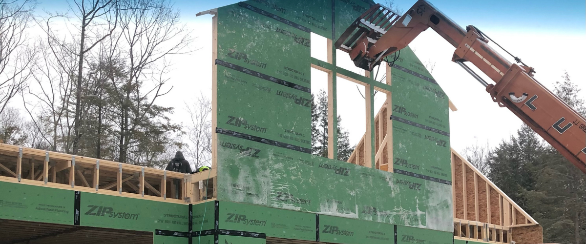 Exterior construction view of the New Hampshire Carriage House.