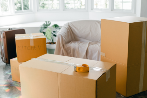 Packed cardboard boxes inside a home.