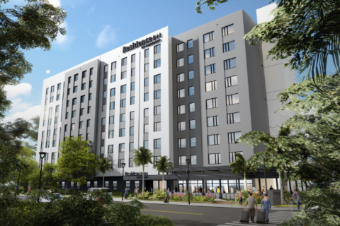 Conceptual rendering of the Residence Inn by Marriott hospitality project.