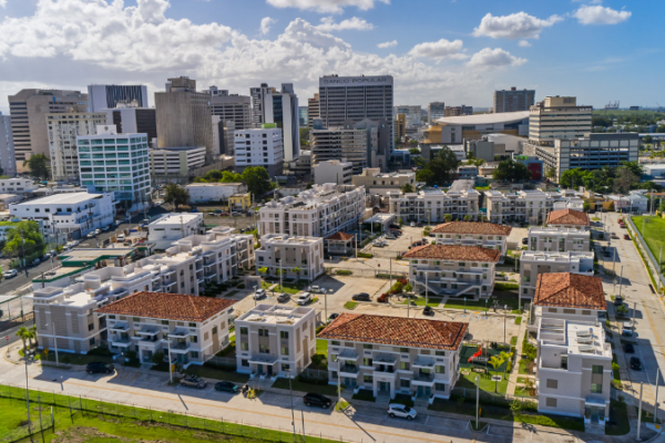 Aerial view of our Renaissance Square affordable housing buildings.